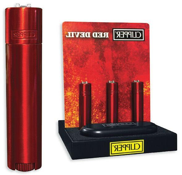 Full Size CLIPPER Flint Lighter Refillable METAL RED DEVIL W