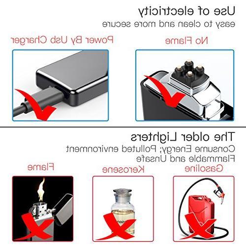 Lighter, USB Double Arc Lighter Plasma Windproof for BBQ
