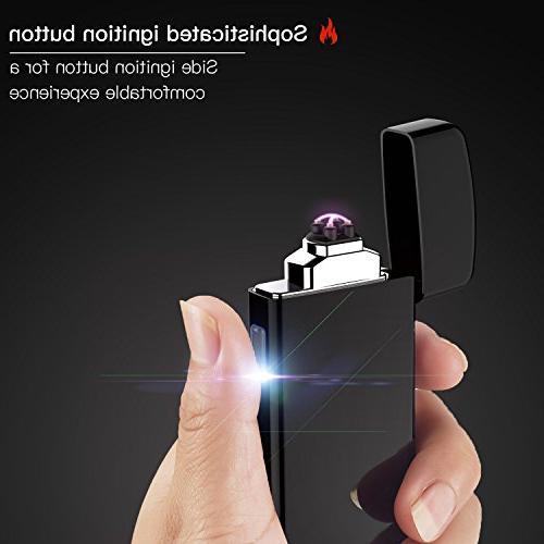 Lighter, USB Rechargeable Double Lighter Plasma Beam Windproof BBQ