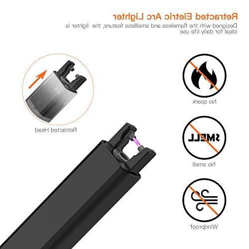 Lighter, Lighter Double Safety Lock, 220mAh Battery, 300 Times per Charge, USB Rechargeable Flameless