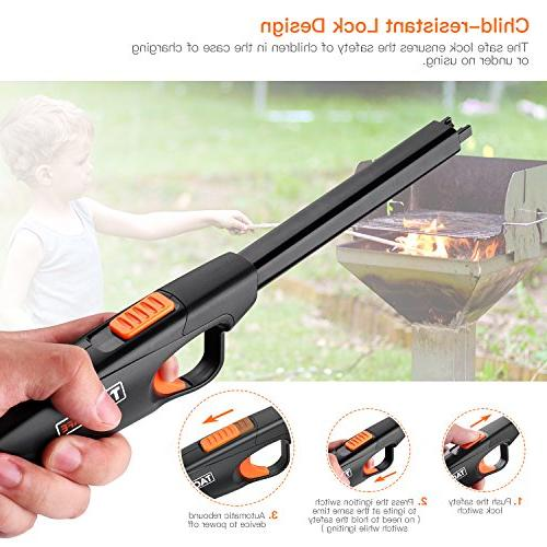 Lighter, Lock, 220mAh Lithium-ion 300 per Full Charge, Rechargeable Candle Windproof BBQ,
