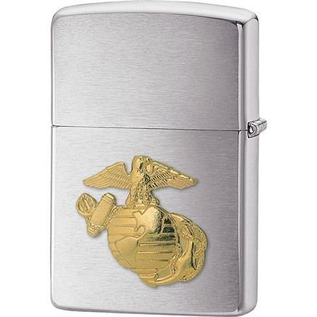 New Zippo Marine Emblem Lighter Brushed Chrome Finish Gold T