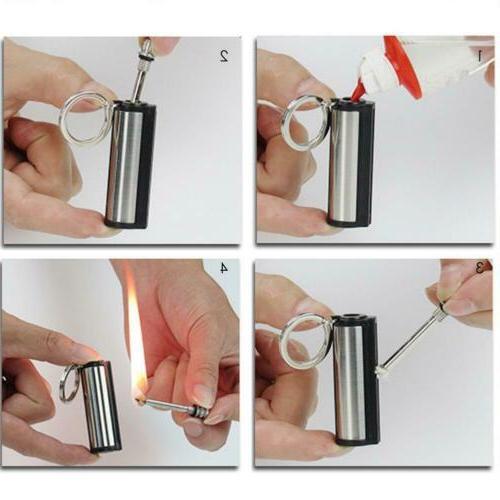 Steel Fire Starter Flint Match Lighter Keychain Camping Emer