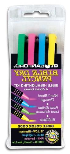Sandford Bible Highlighter Kit - 4 Colors Dry Pencil Non-Ble