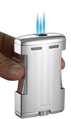 Caseti SPARTA Triple Jet Flame Cigar Table Lighter CHROME wi
