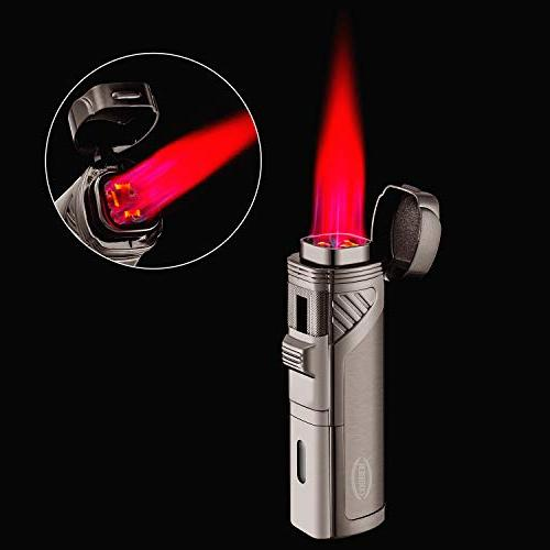 Cobber Cigar Lighter, Quad Jet Flame Refillable Lighter with Punch, Gray