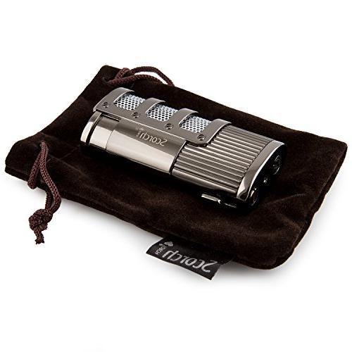Scorch Cedar Cigar Humidifier Dominator Triple Jet Flame Butane Torch Lighter with Punch Cutter