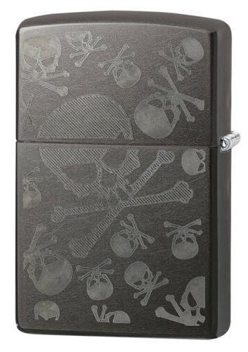 VISL-ZIPPO28685-Zippo Skulls Iced Pocket Lighter, Gray Dusk
