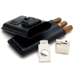 Mantello Genuine Leather 3 Cigar Case with Lighter and Cutte