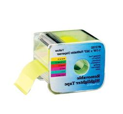 Wide Highlighter Note Tape with Dispenser, Yellow, A Single