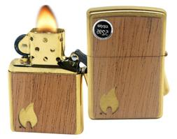 Zippo Lighter 29901 Woodchuck USA Flame Brushed Brass Finish