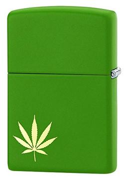 Zippo Lighter: Engraved Weed Leaf - Moss Green Matte 29588