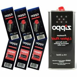 Zippo Lighter Fluid Fuel 12oz & 6 Value Pack  Gift Set Combo
