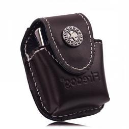 Lighter Pouch Fliptop Genuine Durable Leather Metal Belt Cli