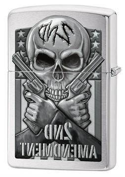 Zippo Lighter: Second Amendment, Skull and Guns - Brushed Ch