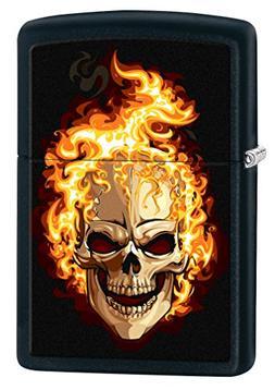 Zippo Lighter: Skull on Fire - Black Matte 76989