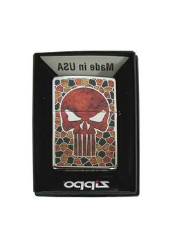 Zippo Lighter Stained Glass Skull High Polish Chrome Collect