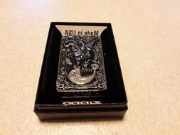 Zippo Lighter with 3D Gargoyle On HP chrome . NEW. collectib