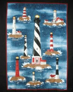 Lighthouse Harbor Lights Wall hanging Quilt Panel Fabric 100