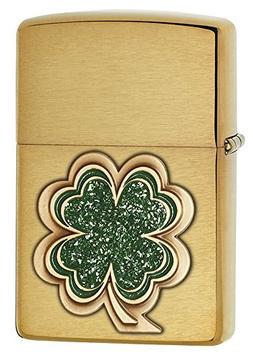 Zippo Lucky Clover Brushed Brass Lighter