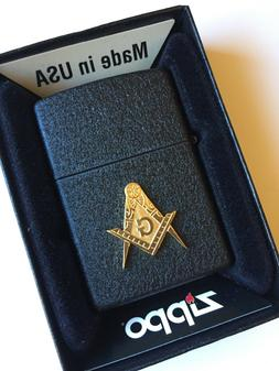 Masonic Zippo Lighter BLACK CRACKLE New Free Masons Master g