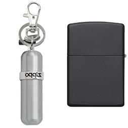 Zippo Matte Lighter, Black with Fuel Canister
