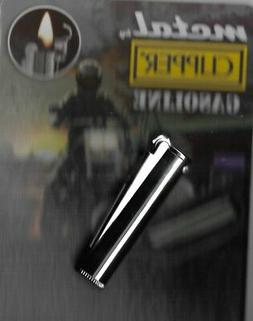 CLIPPER METAL GASOLINE LIGHTER REFILLABLE SHINY SILVER WITH