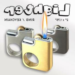 **METAL** Key-chain Butane Gas Flame Mini Ring Lighter 'Man
