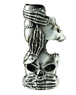 Metal Lighter Case Fits Standard Bic Lighter J6 In Skull Hea