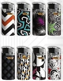 Bic Mini Jr Lighters Black & White - 8 lighters with color a