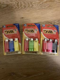 BIC Mini Lighter, 3-Pack, Assorted Colors - Lot Of 3!