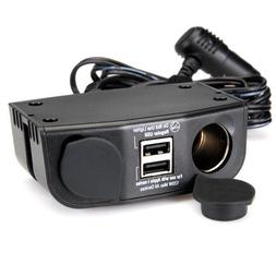Multi-Use Vehicle Charger with Dual USB Ports and Dual 12 Vo