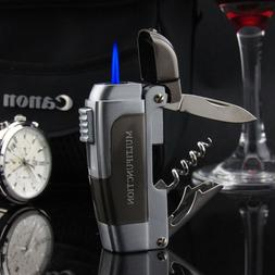 Multifunction Windproof Jet Torch Gas Refillable Lighter Kni