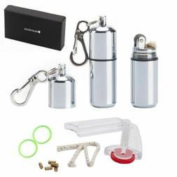 New 2 Pcs EDC Waterproof Peanut Lighter Fire Starter Surviva