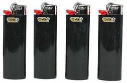 New Lot of 4 Bic Ebony Jet Black Full Size Lighters Regular