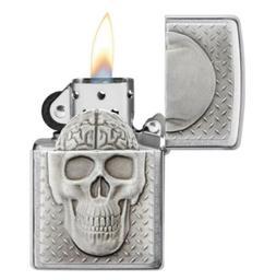 "New Zippo ""Skull with Brain Surprise Emblem"" 29818 Brushed C"