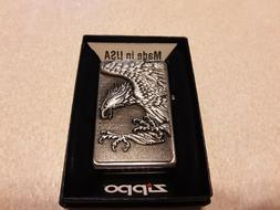 NEW Zippo 3D Pewter Eagle on Street Chrome Lighter. Collecta