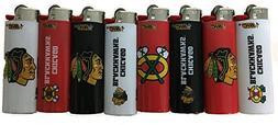 8pc Full Size Set NHL Chicago Black Hawks Hockey Bic Lighter