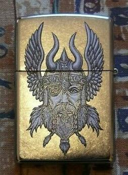 NOVELTY VIKING WARRIOR ZIPPO LIGHTER FREE P&P FREE FLINTS
