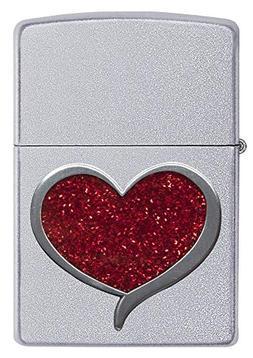 Officially Licensed Glitter Heart Satin Chrome Zippo Lighter