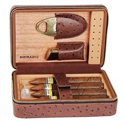 CIGARISM 4 Count Ostrich Pattern Genuine Leather Cedar Cigar