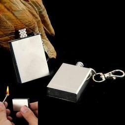Permanent Metal Match Box Lighter Cigarette Camping Keyring