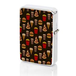 Pizza Burger Shake Windproof Flip Top Silver Lighter