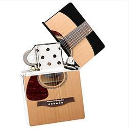 Play Acoustic Guitar White Flip Top Cigarette Lighter