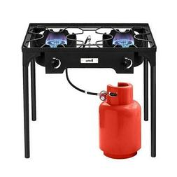 Portable Propane 150,000-BTU 2 Burner Gas Cooker Outdoor Cam
