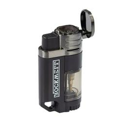 Rockwell Quad Torch Cigar Lighter - Auto Open Black & Gunmet
