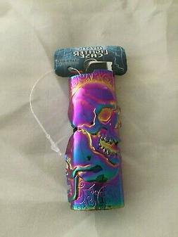 Rainbow Mystic Double Skull Fits Bic Pewter Lighter Holder C