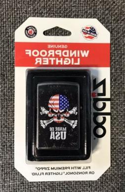 Zippo Red White & Blue Skull & Crossbones Made In USA Lighte
