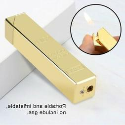 refillable cigarette lighter gold bar shape metal