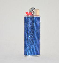 Silver Metal Lighter Cover Sleeve with Blue Sparkly Bead Pat